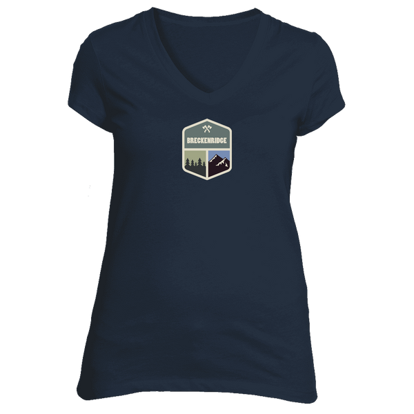 Breckenridge, Colorado Mountain & Trees Badge - Women's V-Neck T-Shirt
