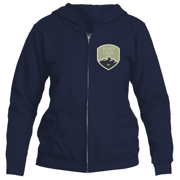 Beaver Creek, Colorado Mountaineering Badge - Women's Full-Zip Hooded Sweatshirt/Hoodie