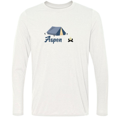 Aspen Camping & Camp Fire - Colorado Men's Moisture Wicking Long Sleeve T-Shirt