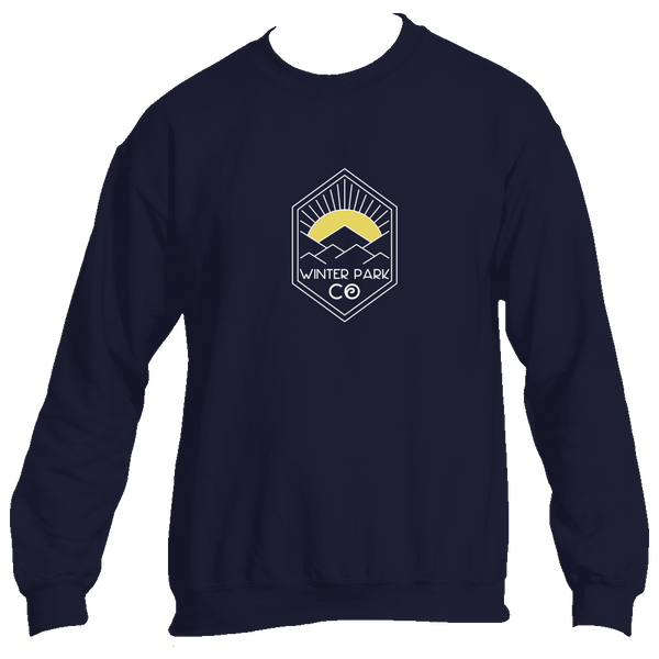 Winter Park Yellow Mountain Sunrise - Colorado Men's Fleece Crew Sweatshirt