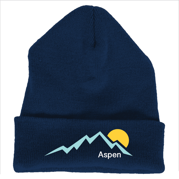 Aspen, Colorado Mountain Sunset - Embroidered Knit Beanie