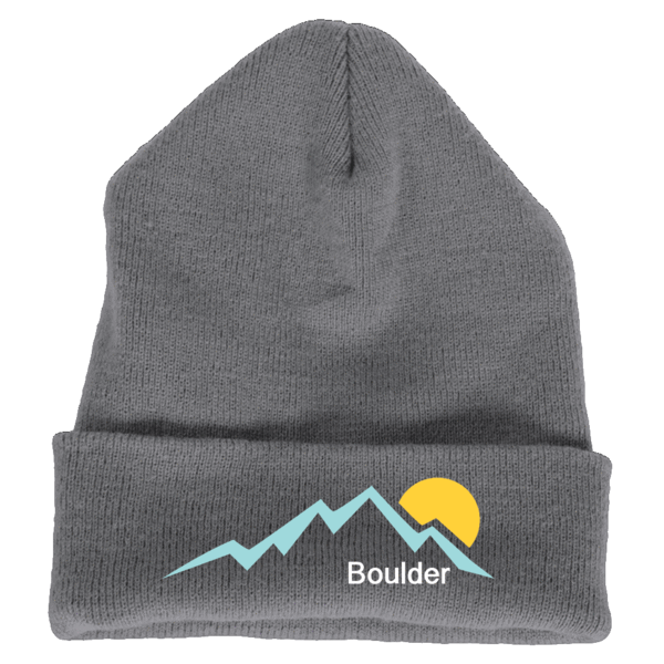 Boulder, Colorado Mountain Sunset - Embroidered Knit Beanie