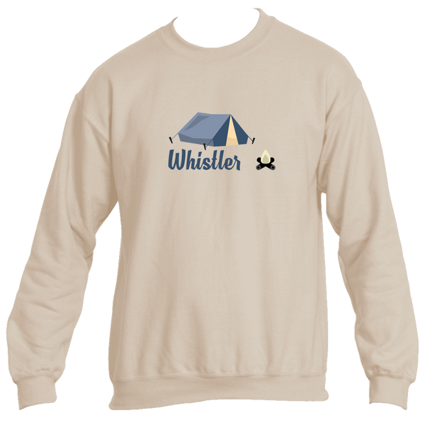 Whistler British Columbia Camping & Camp Fire - Canada Men's Fleece Crew Sweatshirt
