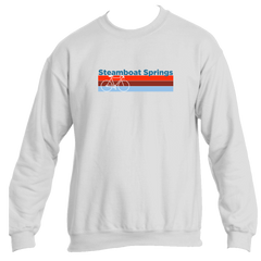 Steamboat Springs Retro Bike & Mountain Bike - Colorado Men's Fleece Crew Sweatshirt