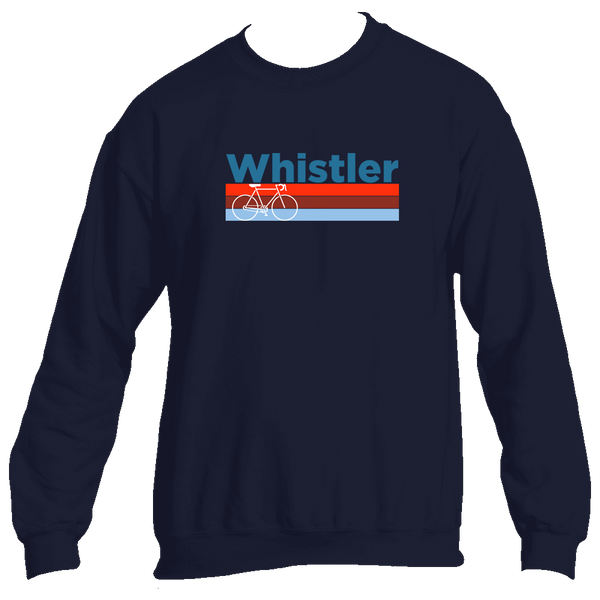 Whistler BC Retro Bike & Mountain Bike - Canada Men's Fleece Crew Sweatshirt