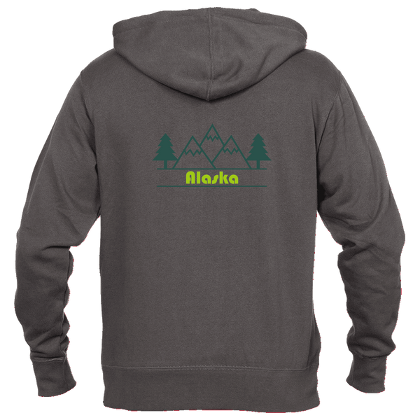 Alaska Mountain & Trees in Green - Men's Full-Zip Hooded Sweatshirt/Hoodie