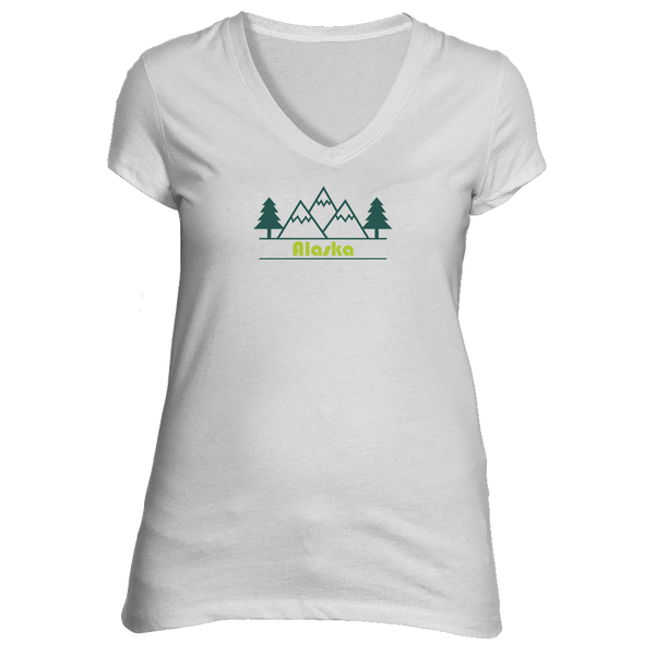 Alaska Mountain & Trees in Green - Women's V-Neck T-Shirt