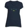 Alta, Utah Mountain & Trees in Green - Women's V-Neck T-Shirt