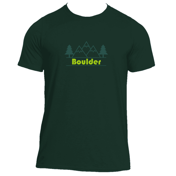 Boulder, Colorado Mountain & Trees in Green - Men's Moisture Wicking T-Shirt