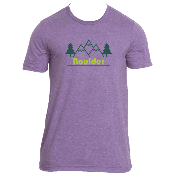Boulder, Colorado Mountain & Trees in Green - Men's T-Shirt