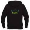 Boulder, Colorado Mountain & Trees in Green - Women's Full-Zip Hooded Sweatshirt/Hoodie