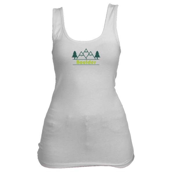 Boulder, Colorado Mountain & Trees in Green - Women's Tank Top