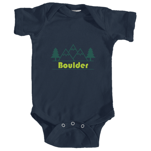 Boulder, Colorado Mountain & Trees in Green - Infant Onesie/Bodysuit