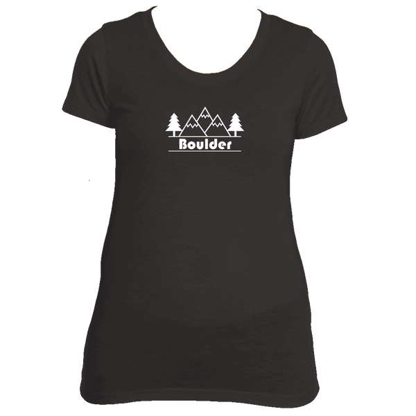 Boulder, Colorado Mountain & Trees - Women's Tri-Blend T-Shirt