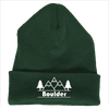 Boulder, Colorado Mountain & Trees - Embroidered Knit Beanie