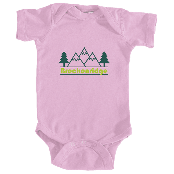 Breckenridge, Colorado Mountain & Trees in Green - Infant Onesie/Bodysuit