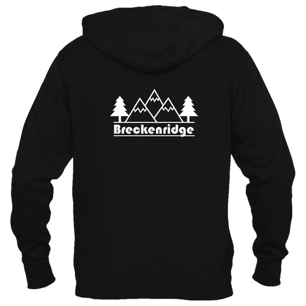 Breckenridge, Colorado Mountain & Trees - Men's Full-Zip Hooded Sweatshirt/Hoodie