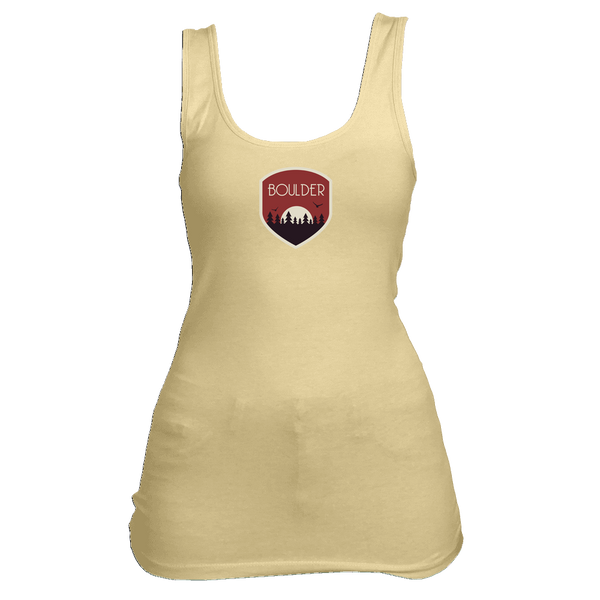 Boulder, Colorado Tree Sunset Badge - Women's Tank Top