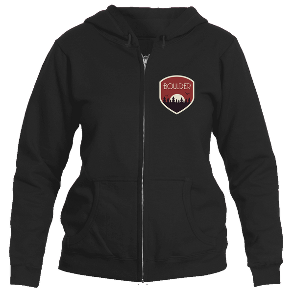 Boulder, Colorado Tree Sunset Badge - Women's Full-Zip Hooded Sweatshirt/Hoodie