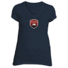 Boulder, Colorado Tree Sunset Badge - Women's V-Neck T-Shirt