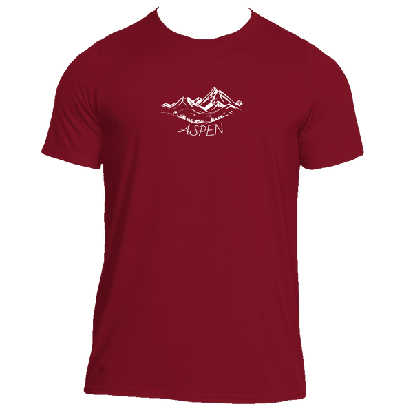 Aspen, Colorado Vintage Mountain Drawing - Men's Moisture Wicking T-Shirt