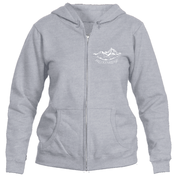 Breckenridge, Colorado Vintage Mountain Drawing - Women's Full-Zip Hooded Sweatshirt/Hoodie