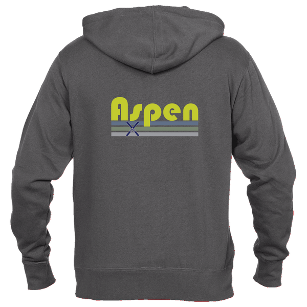 Aspen, Colorado Vintage Cross Skis - Men's Full-Zip Hooded Sweatshirt/Hoodie