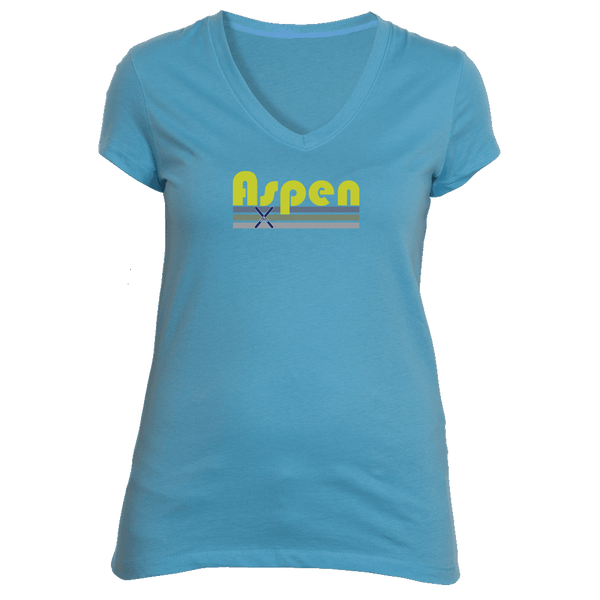 Aspen, Colorado Vintage Cross Skis - Women's V-Neck T-Shirt