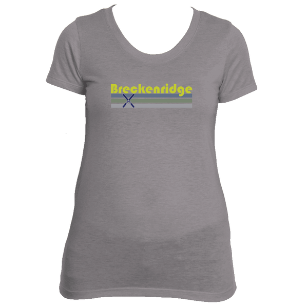 Breckenridge, Colorado Vintage Cross Skis -  Women's Tri-Blend T-Shirt