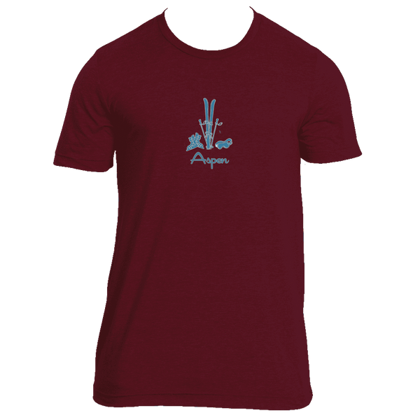 Aspen, Colorado Vintage Snow Ski - Men's Tri-Blend T-Shirt