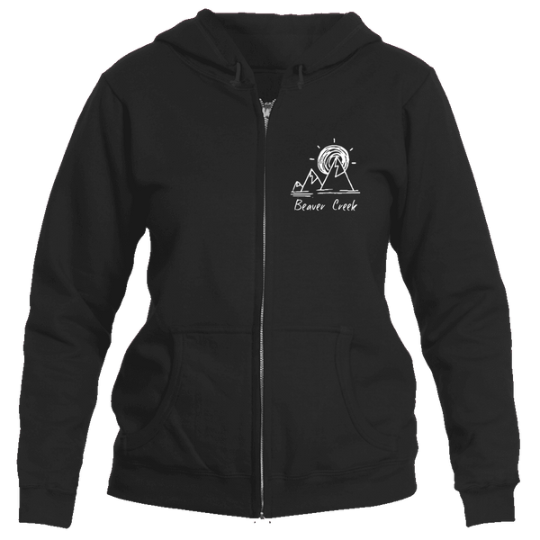 Beaver Creek, Colorado Mountain & Sunset Hand Drawn - Women's Full-Zip Hooded Sweatshirt/Hoodie