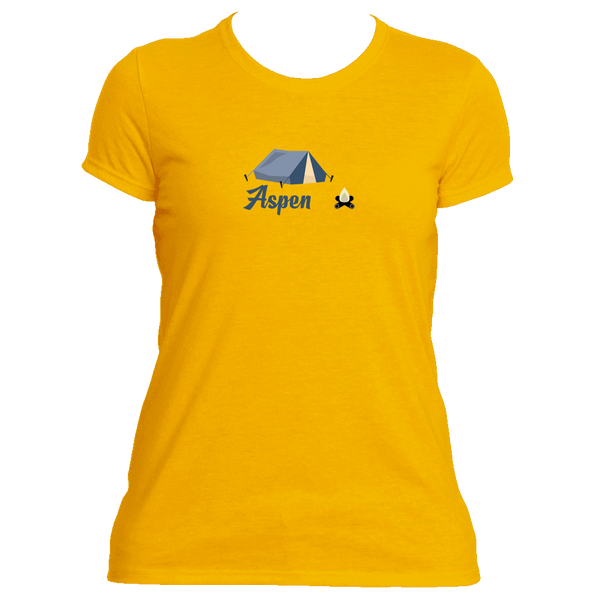 Aspen Camping & Camp Fire - Colorado Women's Moisture Wicking T-Shirt