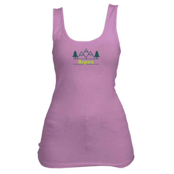 Aspen, Colorado Mountain & Trees in Green - Women's Tank Top
