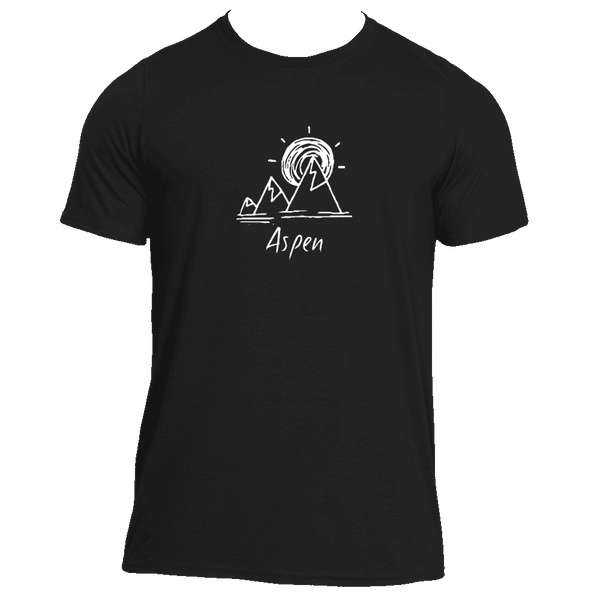 Aspen, Colorado Mountain & Sunset Hand Drawn - Men's Moisture Wicking T-Shirt