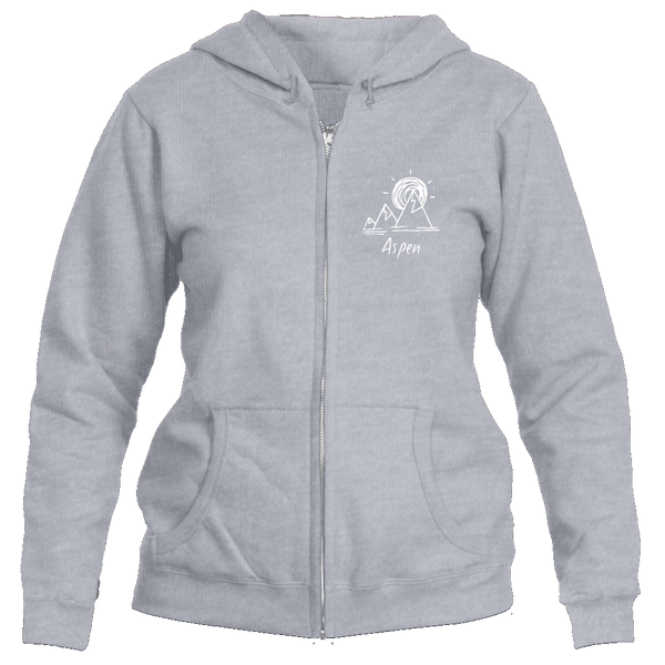 Aspen, Colorado Mountain & Sunset Hand Drawn - Women's Full-Zip Hooded Sweatshirt/Hoodie