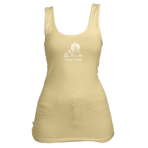 Beaver Creek, Colorado Mountain & Sunset Hand Drawn - Women's Tank Top