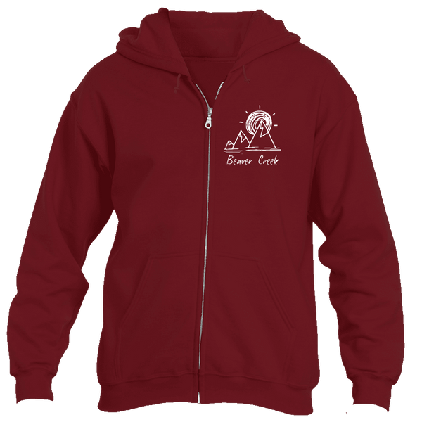 Beaver Creek, Colorado Mountain & Sunset Hand Drawn - Men's Full-Zip Hooded Sweatshirt/Hoodie