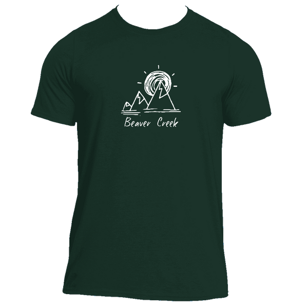 Beaver Creek, Colorado Mountain & Sunset Hand Drawn - Men's Moisture Wicking T-Shirt