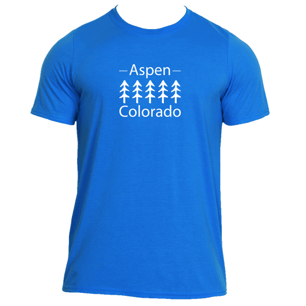 Aspen, Colorado Trees in White - Men's Moisture Wicking T-Shirt