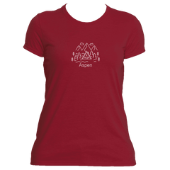 Aspen, Colorado Hand Drawn Mountain Setting - Women's Moisture Wicking T-Shirt