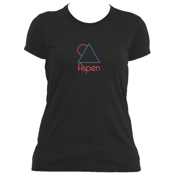 Aspen, Colorado Minimal Mountain Sun in Red/Blue - Women's Moisture Wicking T-Shirt