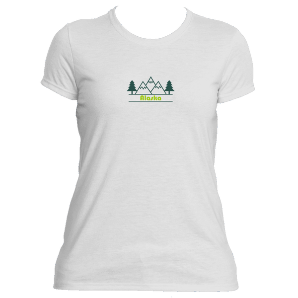 Alaska Mountain & Trees in Green - Women's Moisture Wicking T-Shirt