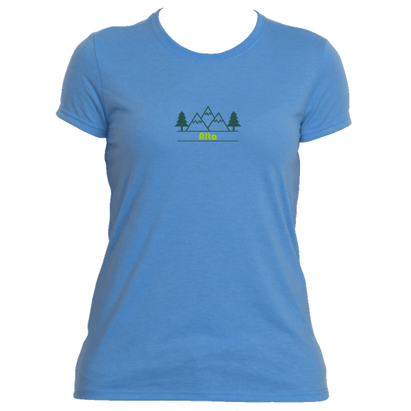 Alta, Utah Mountain & Trees in Green - Women's Moisture Wicking T-Shirt