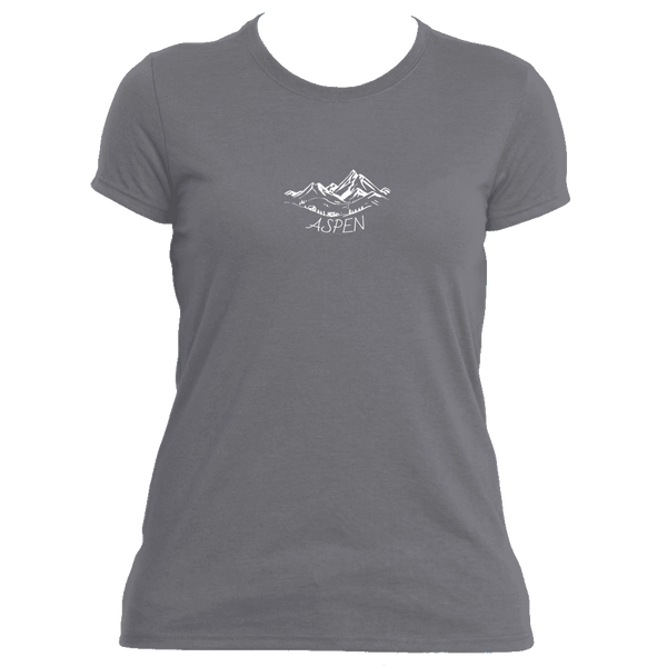 Aspen, Colorado Vintage Mountain Drawing - Women's Moisture Wicking T-Shirt