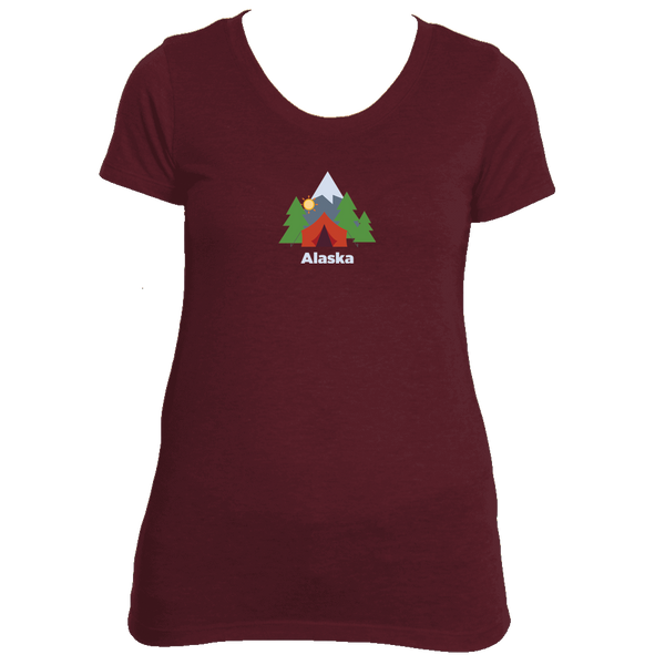 Alaska Mountain Camping - Women's Tri-Blend T-Shirt