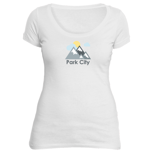 Park City, Utah Mountains and Clouds in Color - Women's Scoop Neck T-Shirt