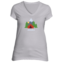 Alaska Mountain Camping - Women's V-Neck T-Shirt