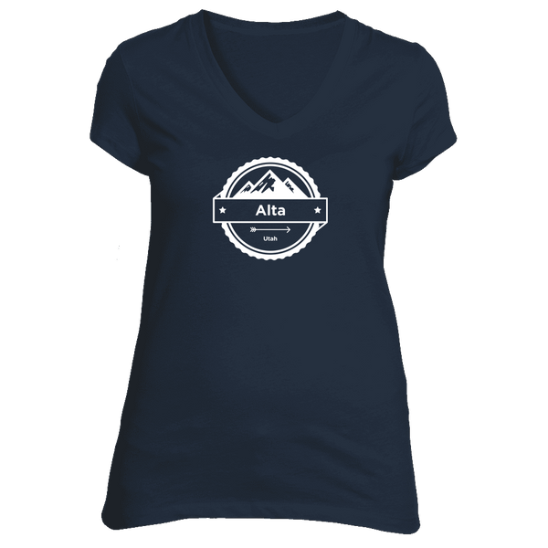 Alta, Utah Circle Three Peak - Women's V-Neck T-Shirt