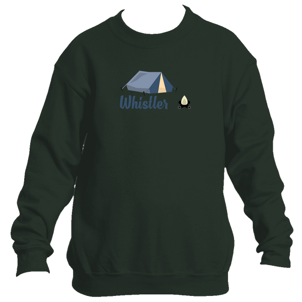 Whistler British Columbia Camping & Camp Fire - Canada Youth Fleece Crew Sweatshirt