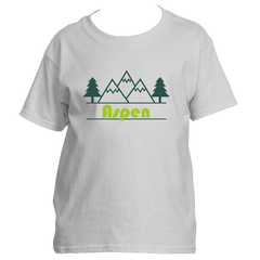 Aspen, Colorado Mountain & Trees in Green - Youth/Kid's T-Shirt